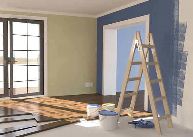 Peindre un mur for Peindre un salon en deux couleurs
