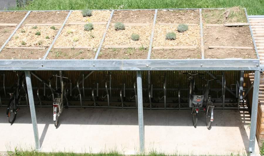 garage avec toit végétal