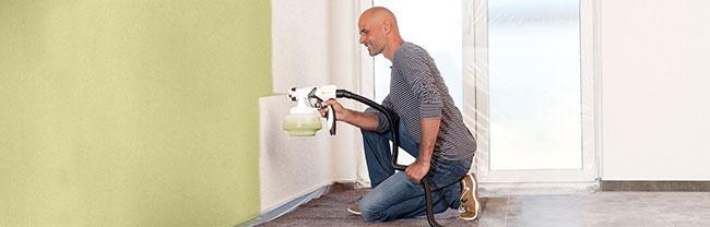 peindre murs avec pistolet peinture