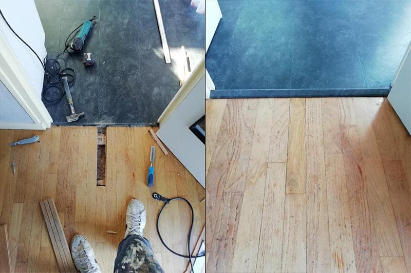 avant / après réparation lame bois massif