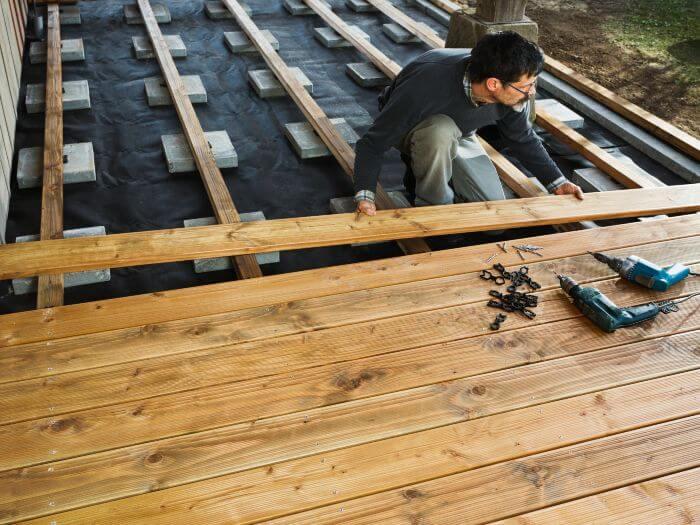 terrasse bois lambourde dalle beton